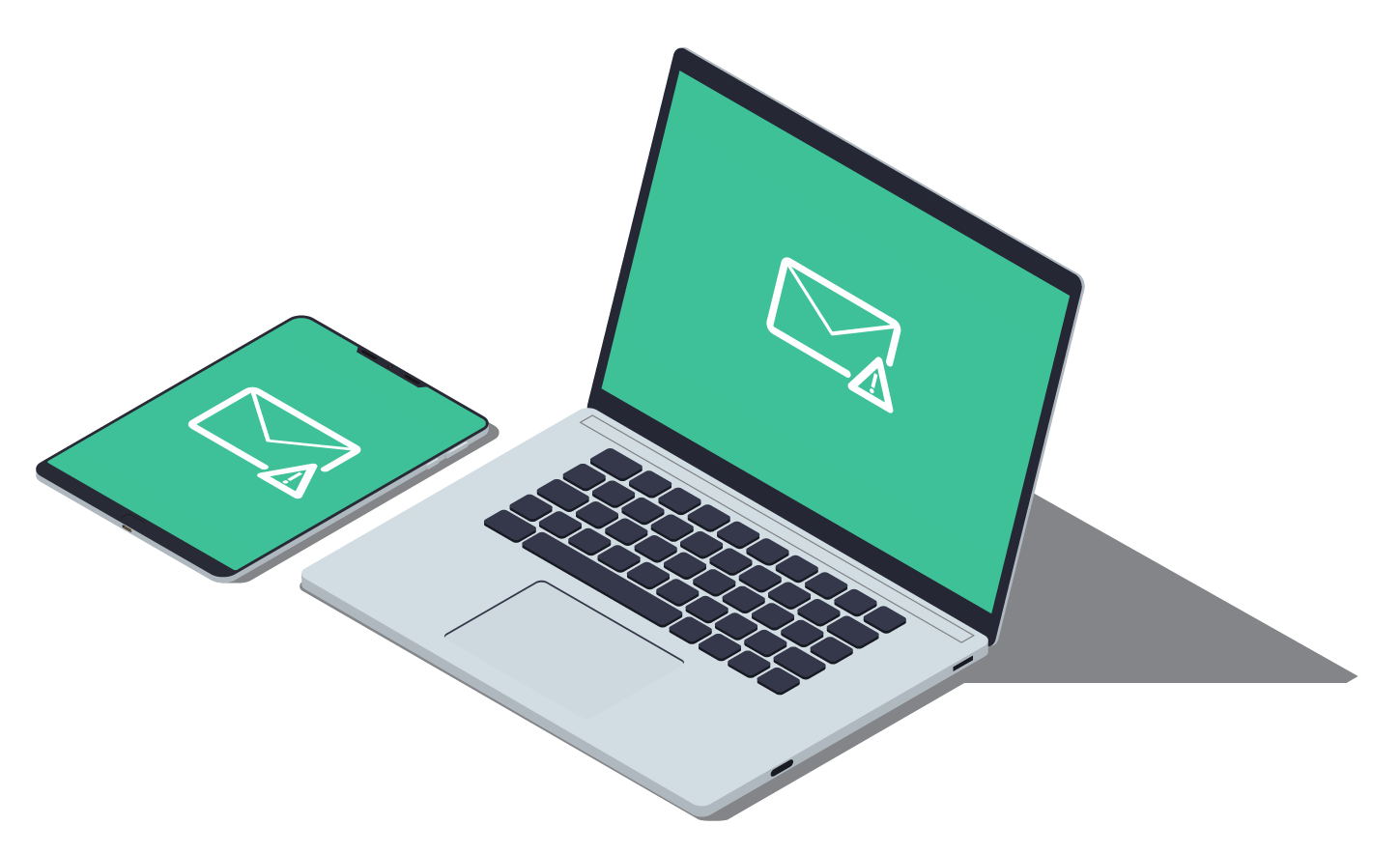 Isometric-laptop-and-tablet,-green-envelope